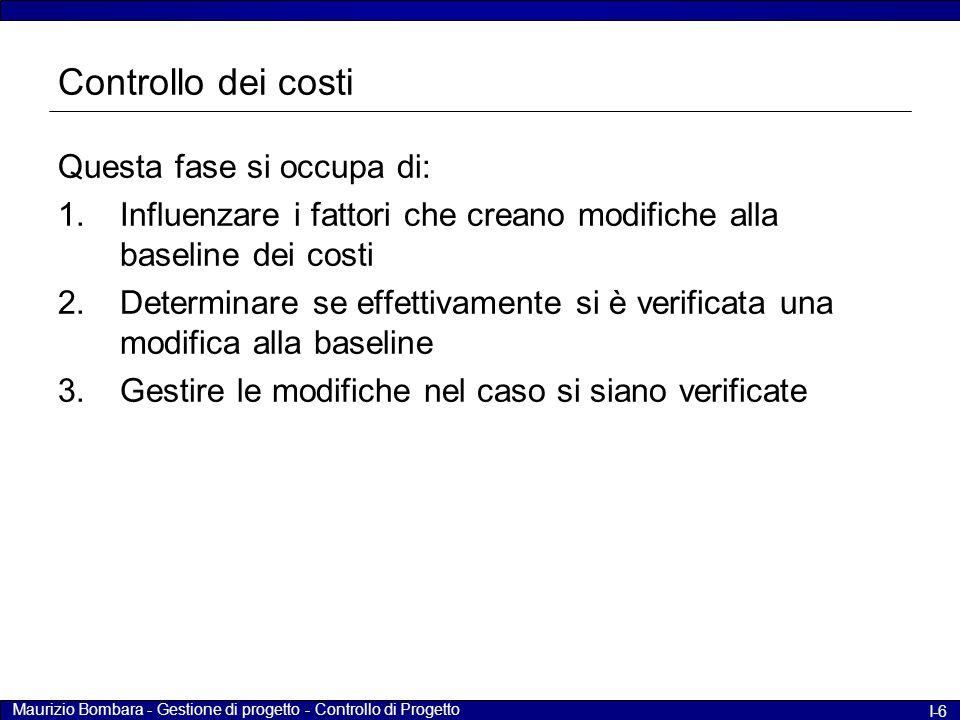 Controllo dei costi Questa fase si occupa di: