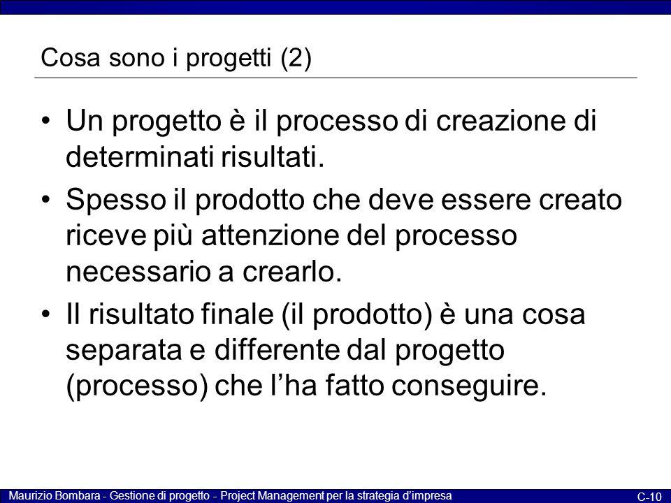 Un progetto è il processo di creazione di determinati risultati.