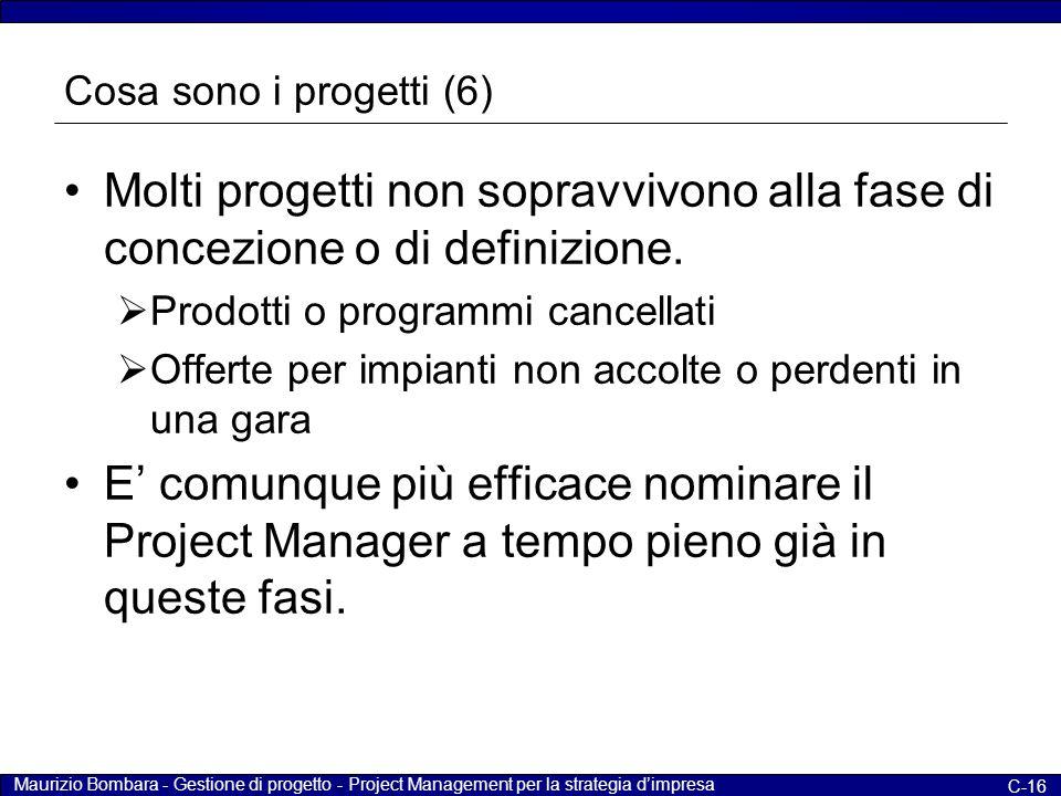 Cosa sono i progetti (6) Molti progetti non sopravvivono alla fase di concezione o di definizione. Prodotti o programmi cancellati.