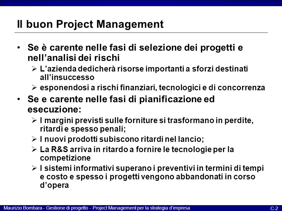 Il buon Project Management