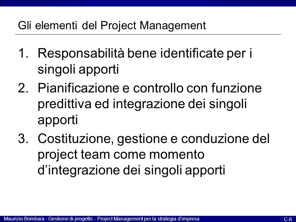 Gli elementi del Project Management