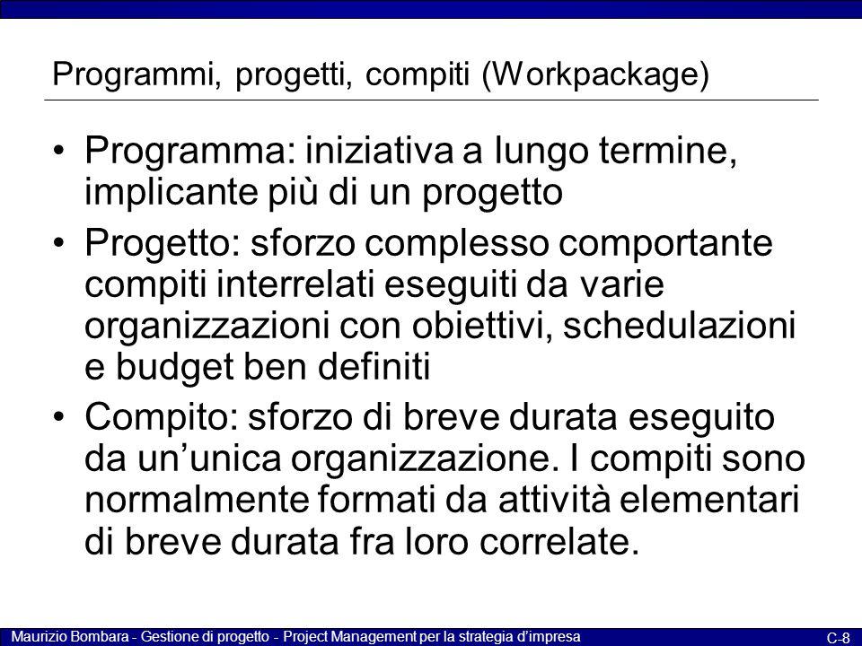 Programmi, progetti, compiti (Workpackage)