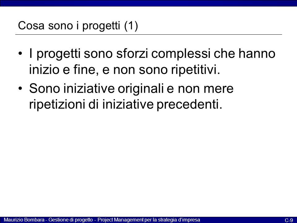 Cosa sono i progetti (1) I progetti sono sforzi complessi che hanno inizio e fine, e non sono ripetitivi.