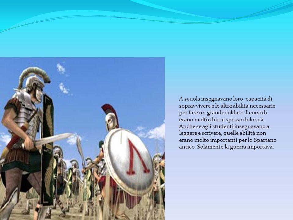 A scuola insegnavano loro capacità di sopravvivere e le altre abilità necessarie per fare un grande soldato.