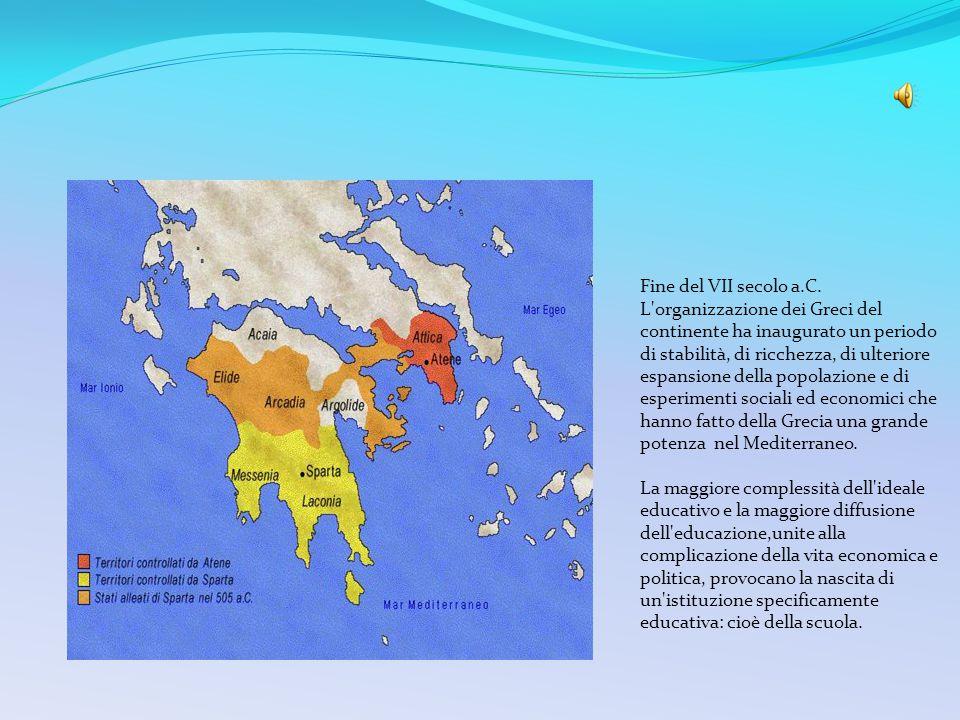 Fine del VII secolo a.C. L organizzazione dei Greci del continente ha inaugurato un periodo di stabilità, di ricchezza, di ulteriore espansione della popolazione e di esperimenti sociali ed economici che hanno fatto della Grecia una grande potenza nel Mediterraneo.