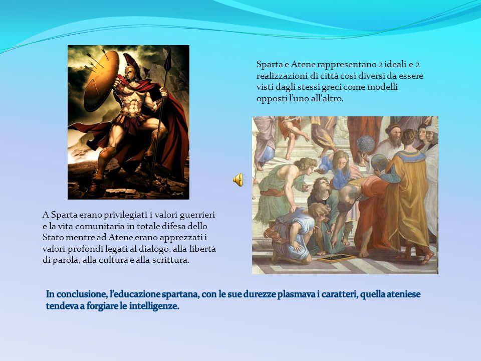 Sparta e Atene rappresentano 2 ideali e 2 realizzazioni di città così diversi da essere visti dagli stessi greci come modelli opposti l'uno all altro.
