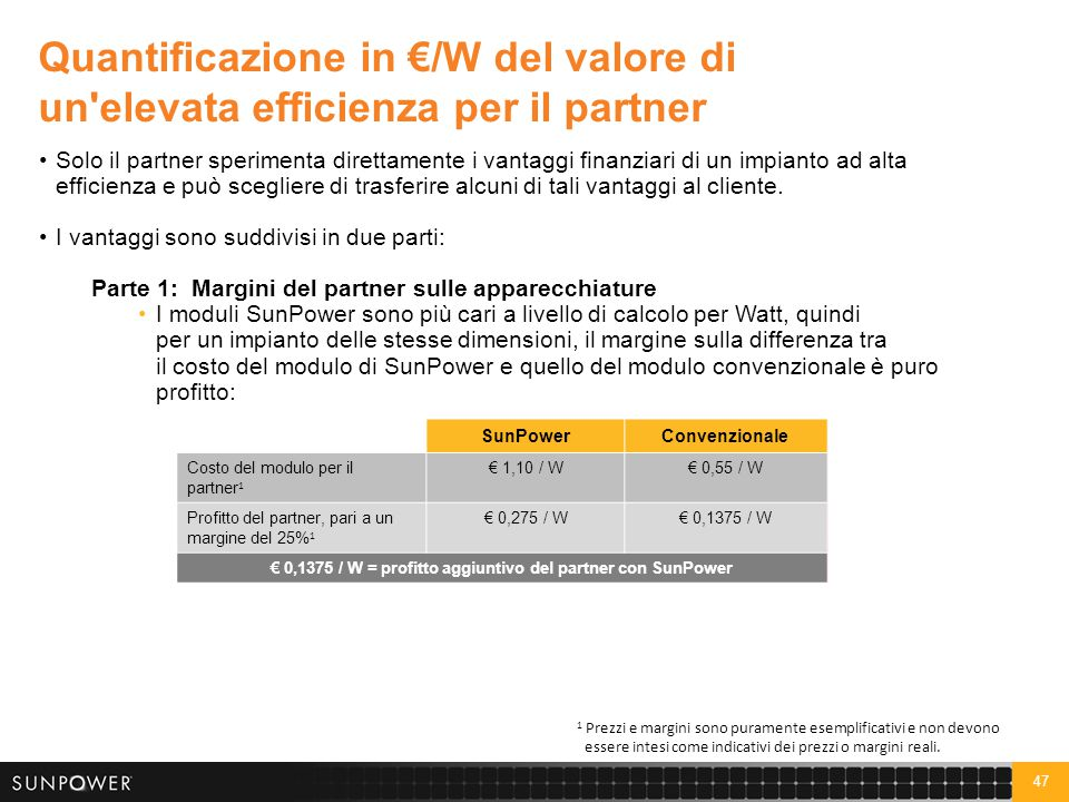 Quantificazione in €/W del valore di un elevata efficienza per il partner (continua)