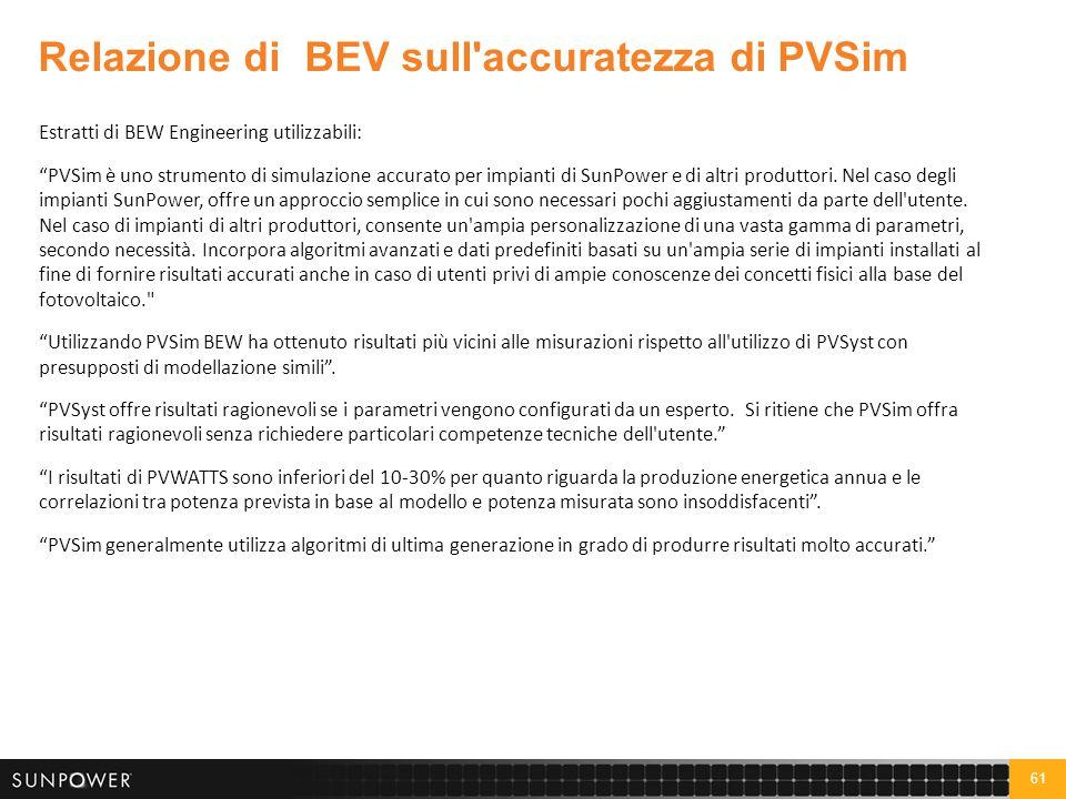 Relazione di BEW sui vantaggi offerti da SunPower in termini di produzione energetica