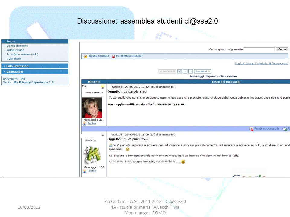 Discussione: assemblea studenti cl@sse2.0