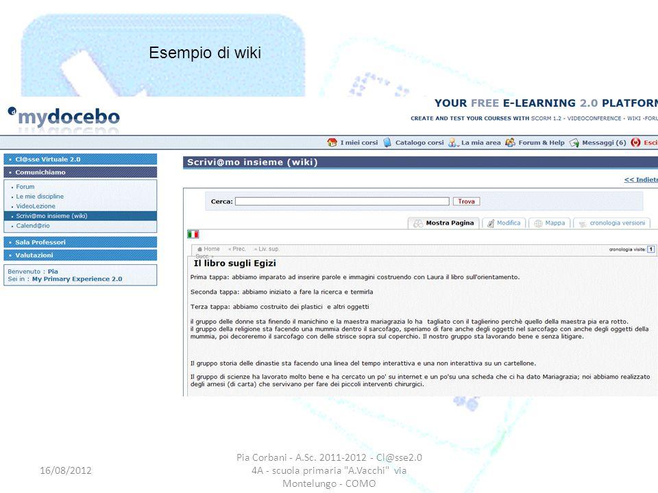 Esempio di wiki 16/08/2012. Pia Corbani - A.Sc.