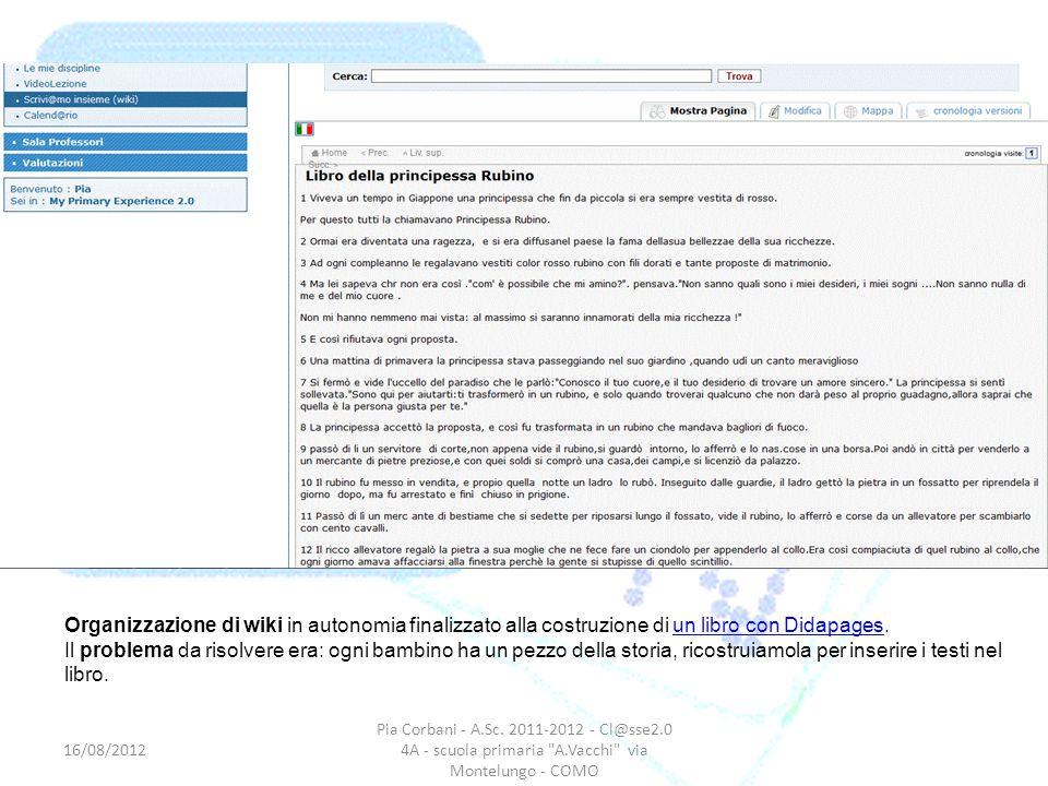 Organizzazione di wiki in autonomia finalizzato alla costruzione di un libro con Didapages.