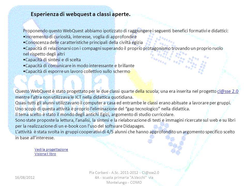 Esperienza di webquest a classi aperte.