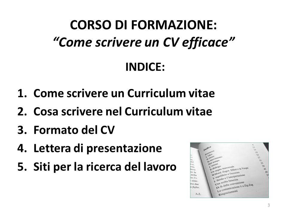 CORSO DI FORMAZIONE: Come scrivere un CV efficace