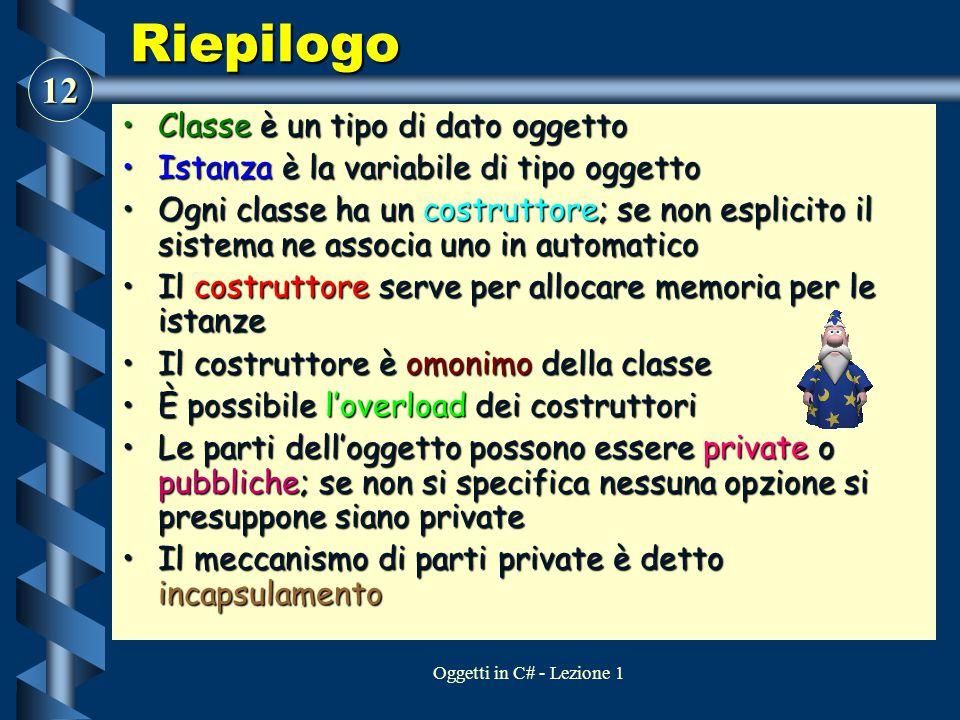 Riepilogo Classe è un tipo di dato oggetto