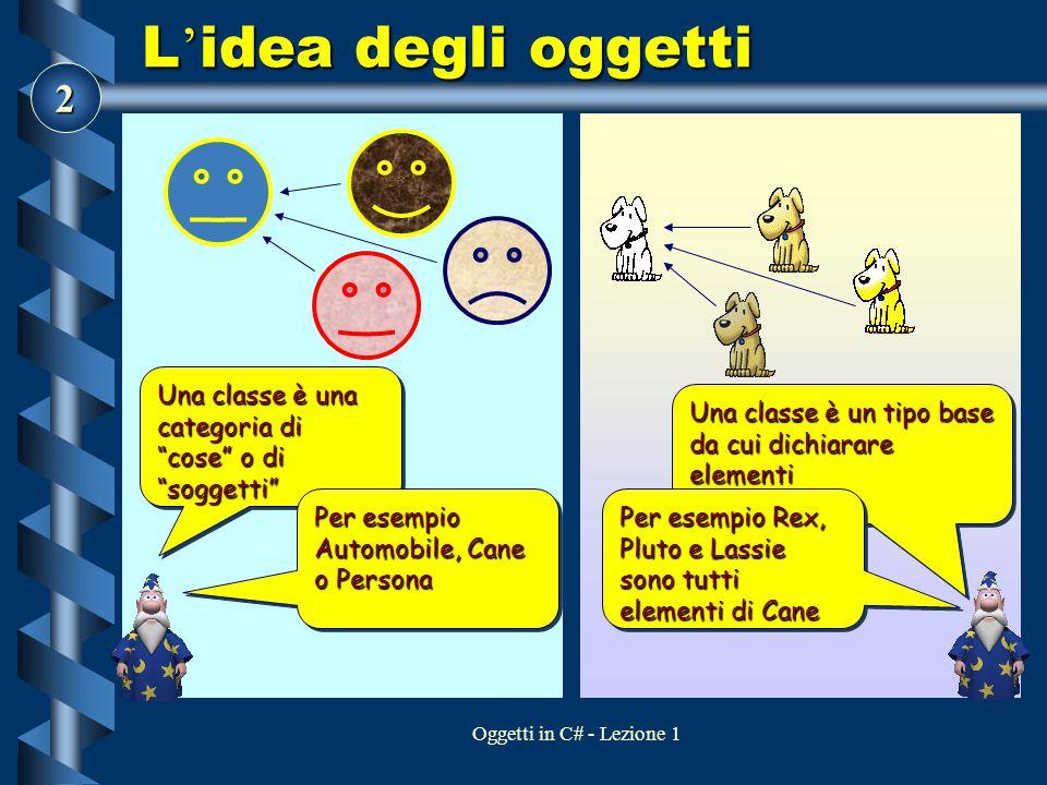 L'idea degli oggetti Una classe è una categoria di cose o di soggetti Una classe è un tipo base da cui dichiarare elementi.