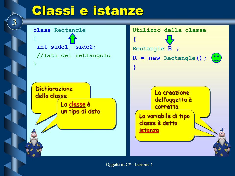 Classi e istanze { R = new Rectangle(); } class Rectangle {