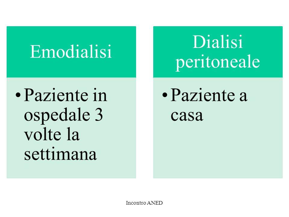 Emodialisi Paziente in ospedale 3 volte la settimana. Dialisi peritoneale. Paziente a casa.