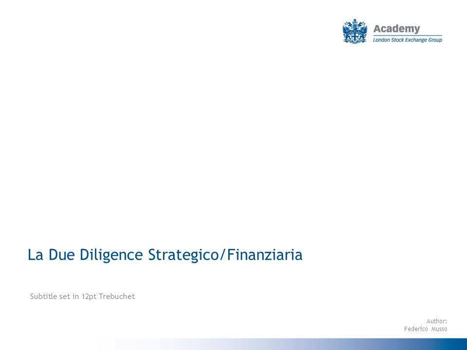 La Due Diligence Strategico/Finanziaria