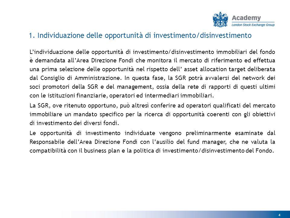 1. Individuazione delle opportunità di investimento/disinvestimento