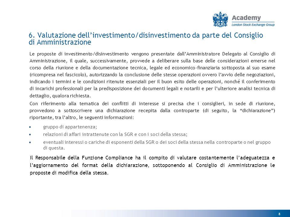 6. Valutazione dell'investimento/disinvestimento da parte del Consiglio di Amministrazione