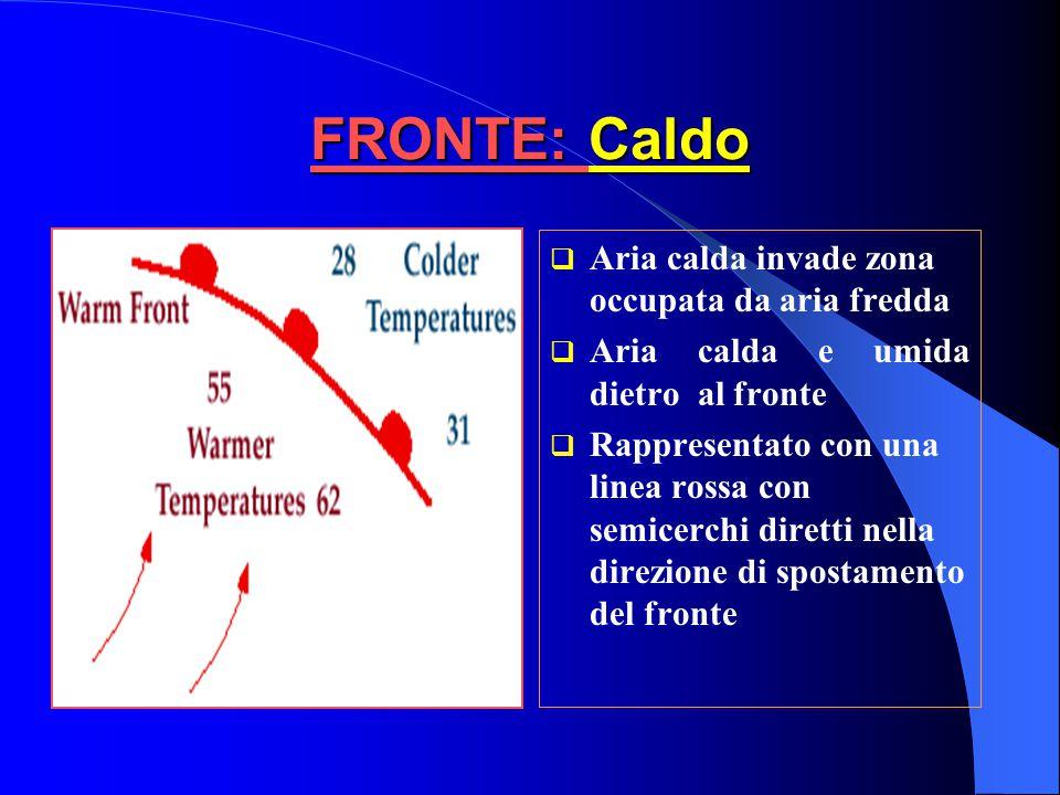 FRONTE: Caldo Aria calda invade zona occupata da aria fredda