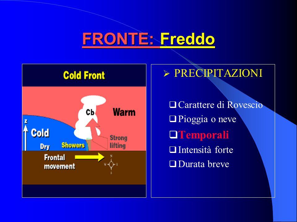 FRONTE: Freddo PRECIPITAZIONI Temporali Carattere di Rovescio
