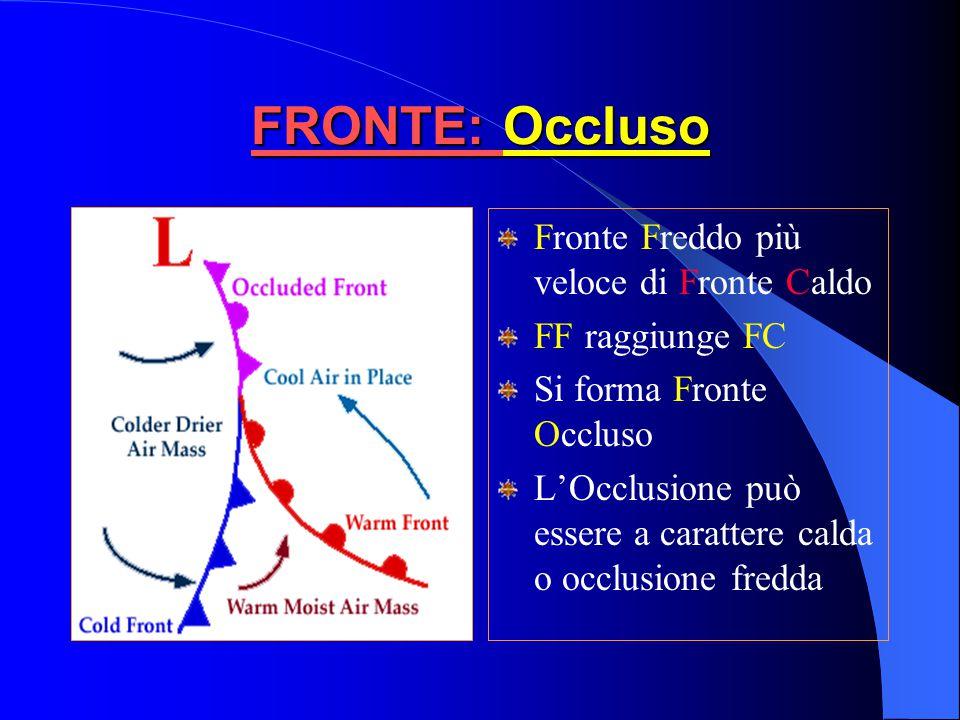 FRONTE: Occluso Fronte Freddo più veloce di Fronte Caldo