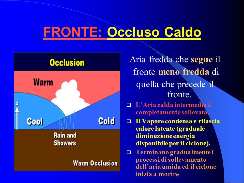FRONTE: Occluso Caldo Aria fredda che segue il fronte meno fredda di