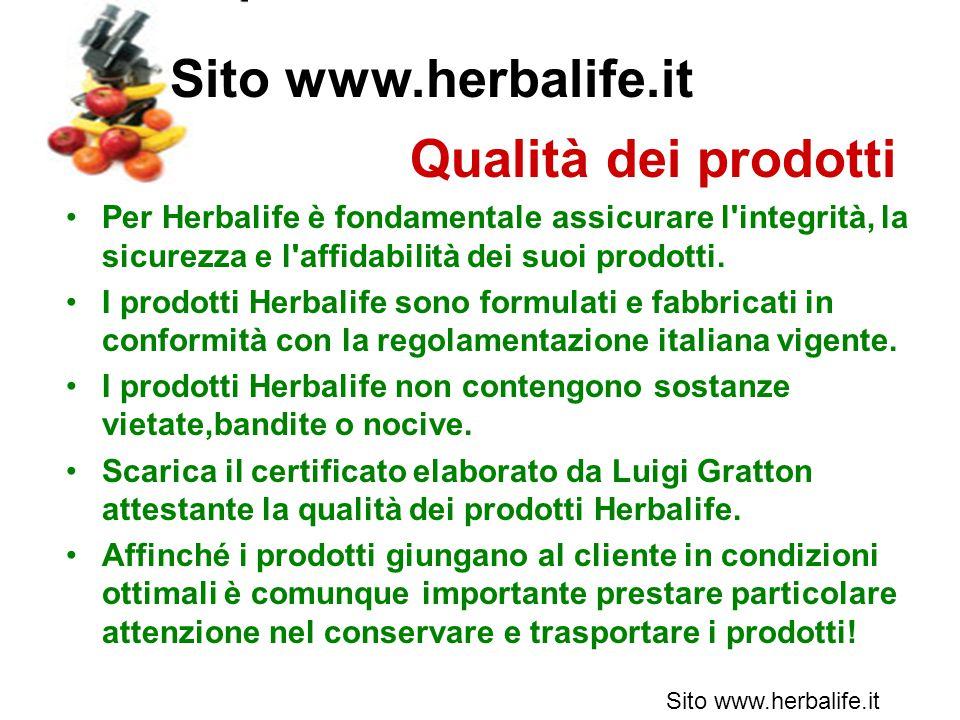 Sito www.herbalife.it Qualità dei prodotti