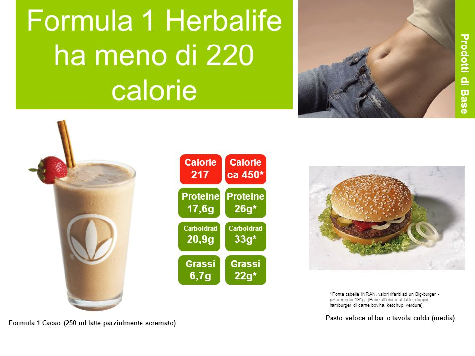 Formula 1 Herbalife ha meno di 220 calorie