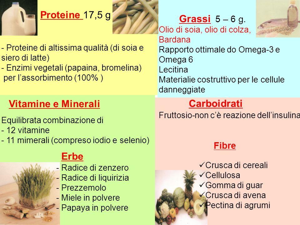Proteine 17,5 g Vitamine e Minerali Carboidrati Erbe Grassi 5 – 6 g.