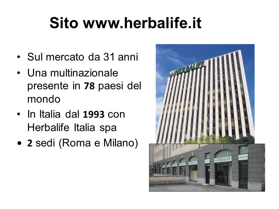 Sito www.herbalife.it Sul mercato da 31 anni