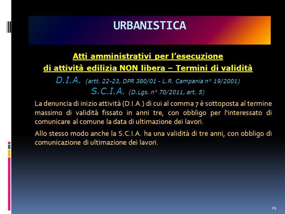 URBANISTICA Atti amministrativi per l'esecuzione. di attività edilizia NON libera – Termini di validità.