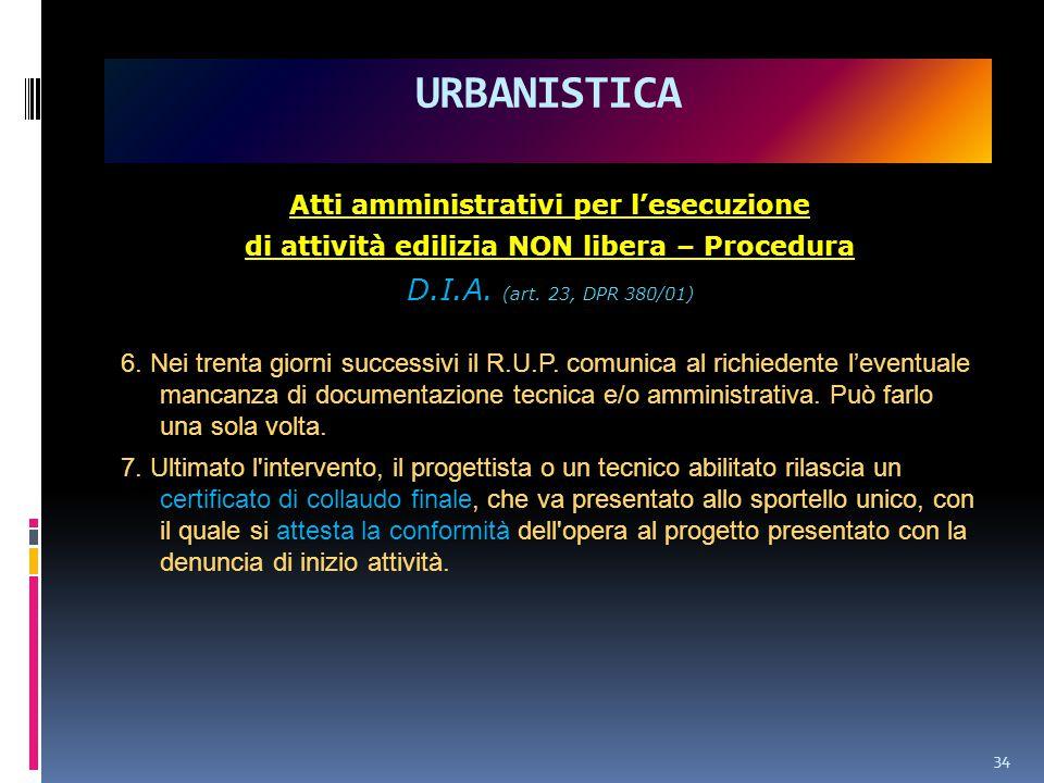 URBANISTICA D.I.A. (art. 23, DPR 380/01)