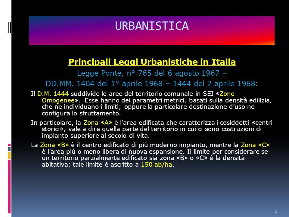 Principali Leggi Urbanistiche in Italia