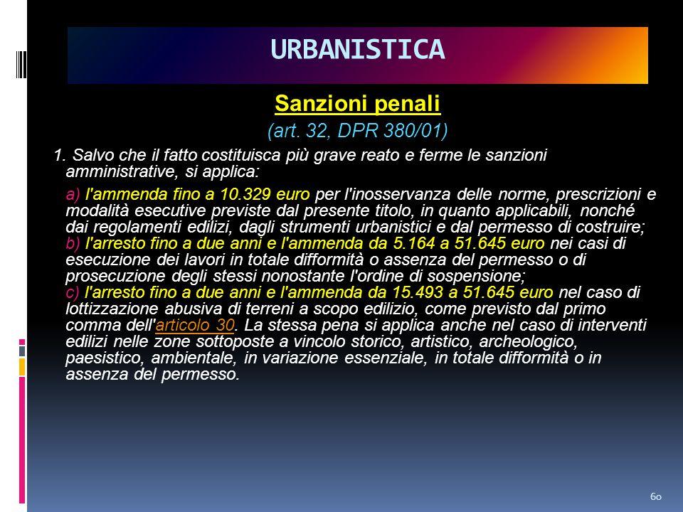 URBANISTICA Sanzioni penali (art. 32, DPR 380/01)