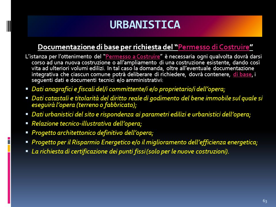 Documentazione di base per richiesta del Permesso di Costruire