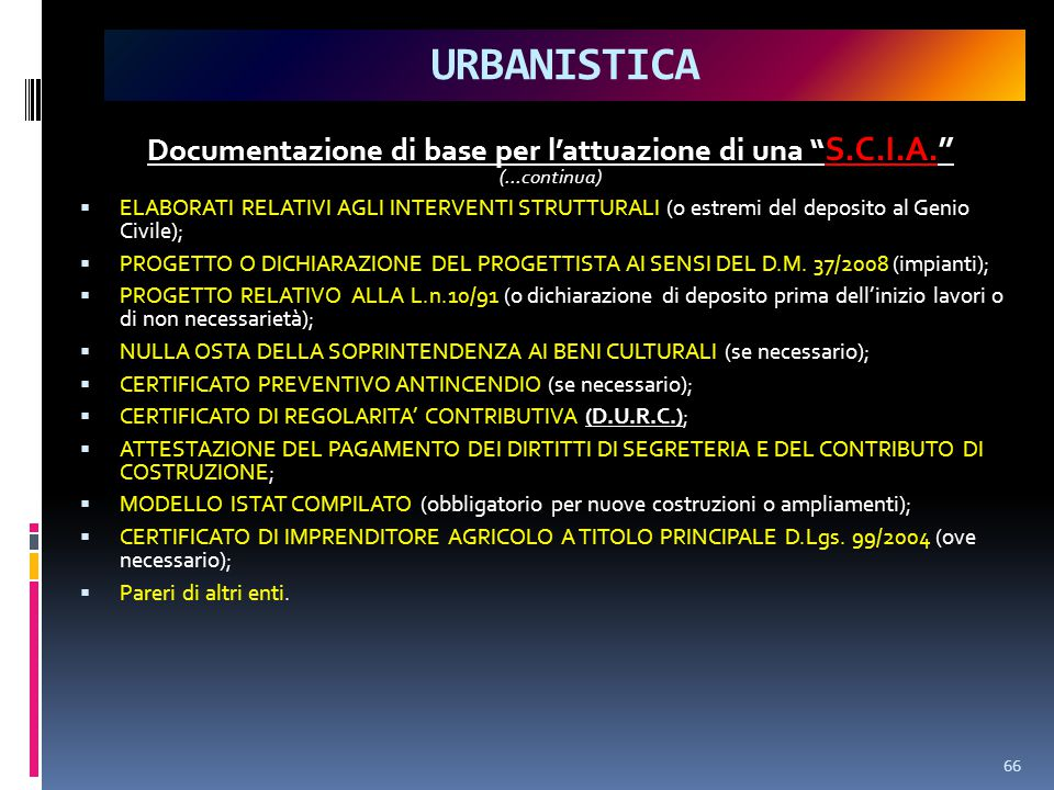 Documentazione di base per l'attuazione di una S.C.I.A.
