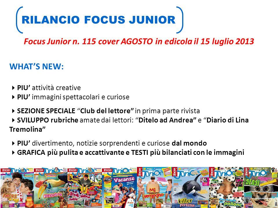 Focus Junior n. 115 cover AGOSTO in edicola il 15 luglio 2013