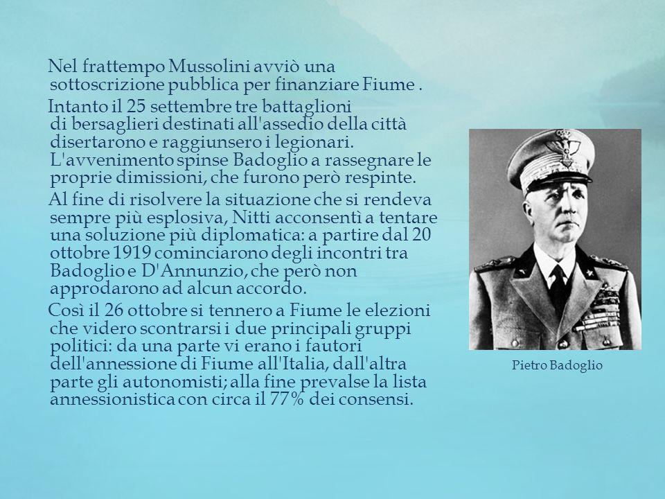 Nel frattempo Mussolini avviò una sottoscrizione pubblica per finanziare Fiume .