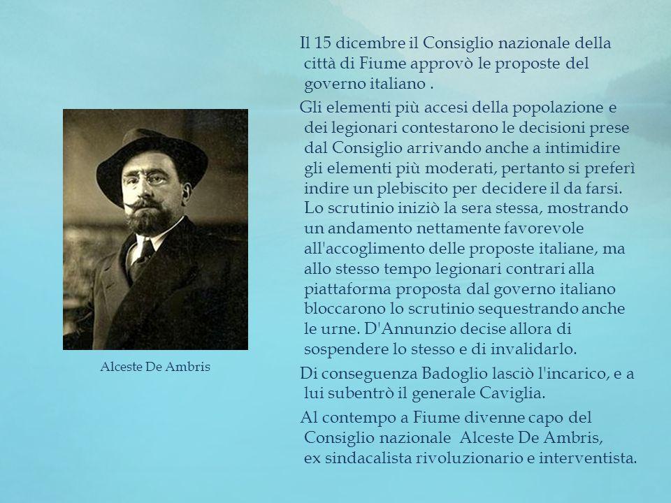 Il 15 dicembre il Consiglio nazionale della città di Fiume approvò le proposte del governo italiano .