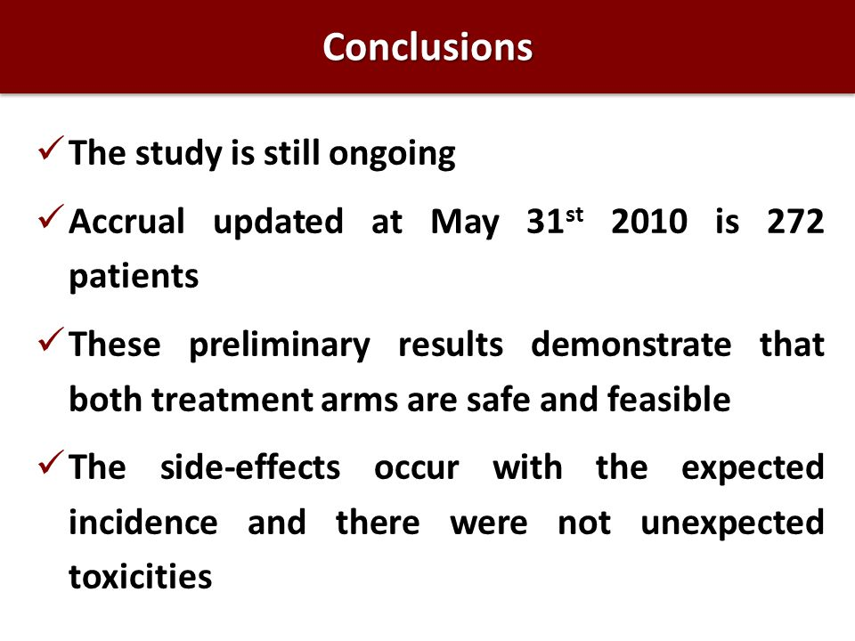 Conclusions The study is still ongoing