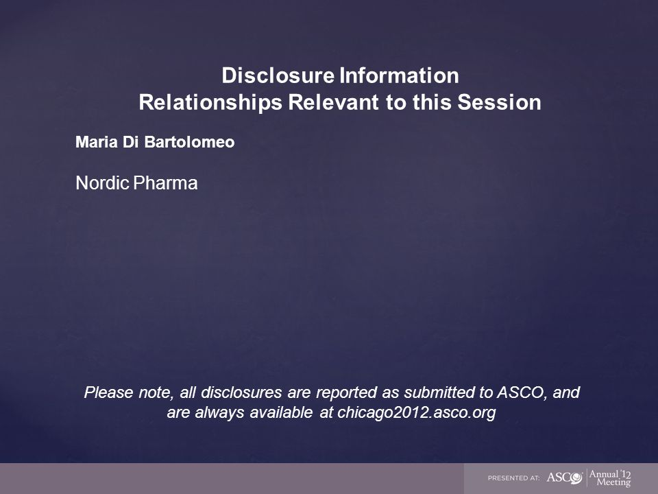 Disclosure Information Relationships Relevant to this Session