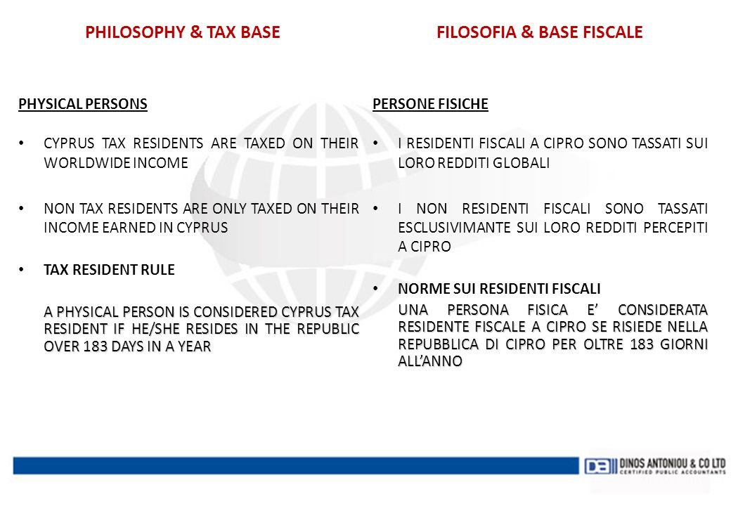 PHILOSOPHY & TAX BASE FILOSOFIA & BASE FISCALE