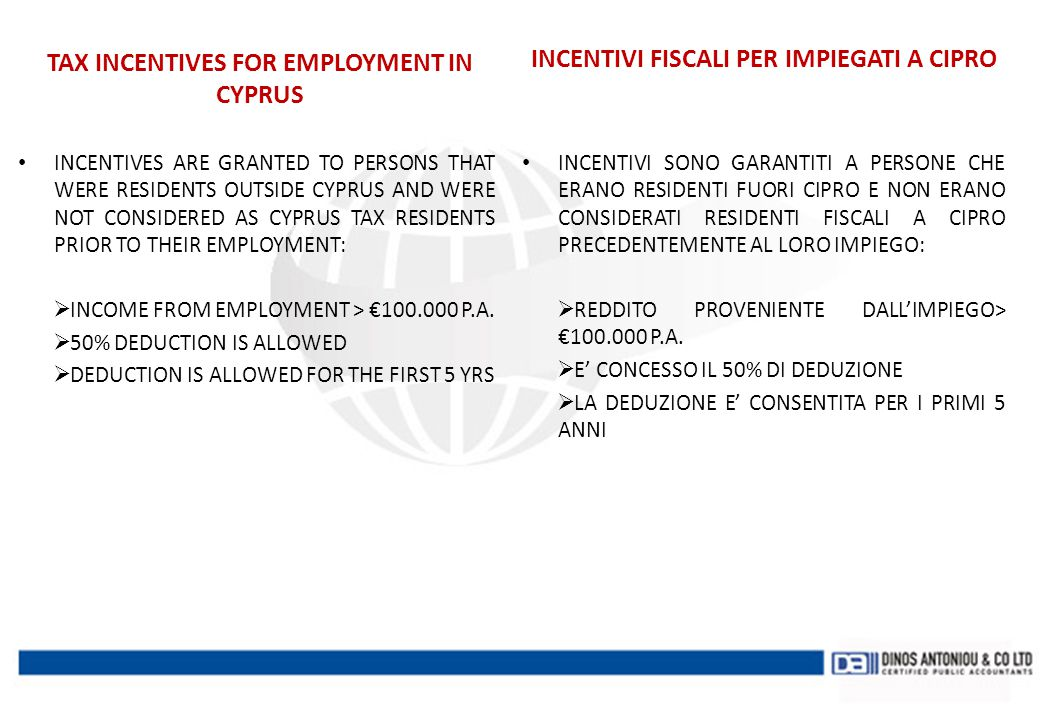 TAX INCENTIVES FOR EMPLOYMENT IN CYPRUS