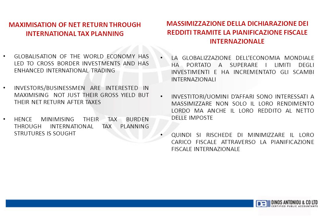 MAXIMISATION OF NET RETURN THROUGH INTERNATIONAL TAX PLANNING