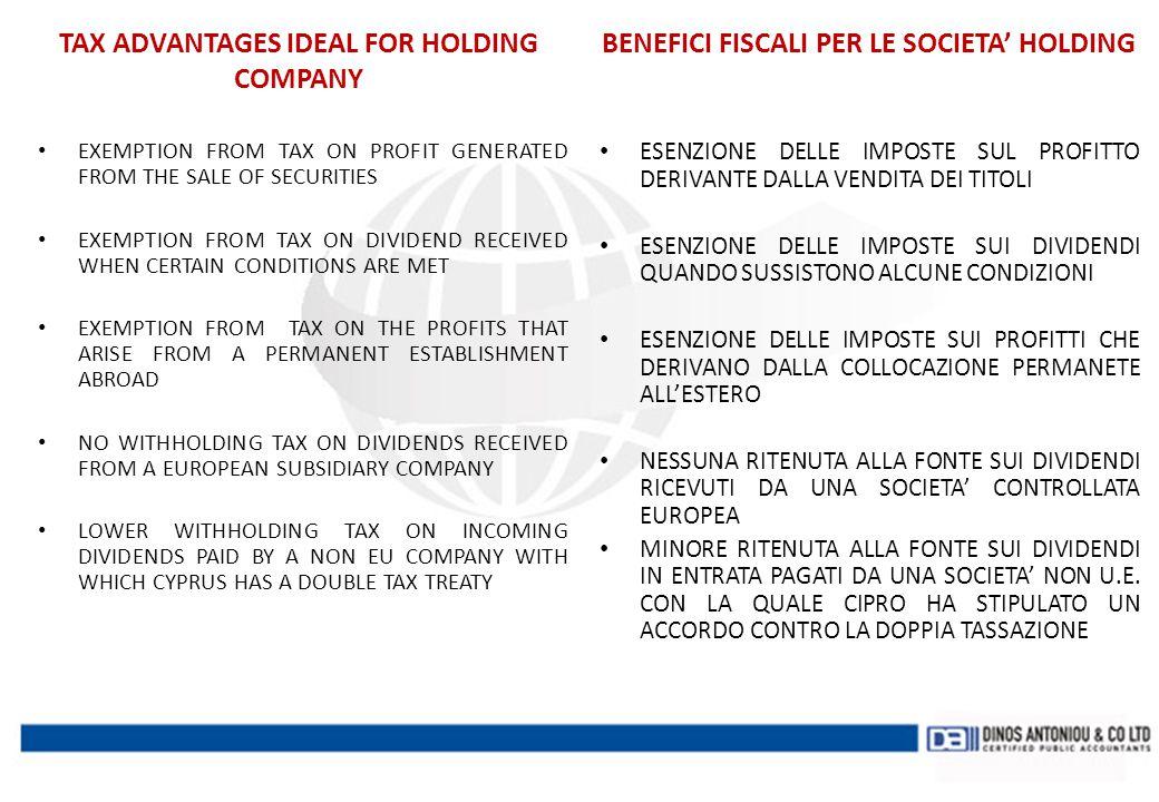 BENEFICI FISCALI PER LE SOCIETA' HOLDING