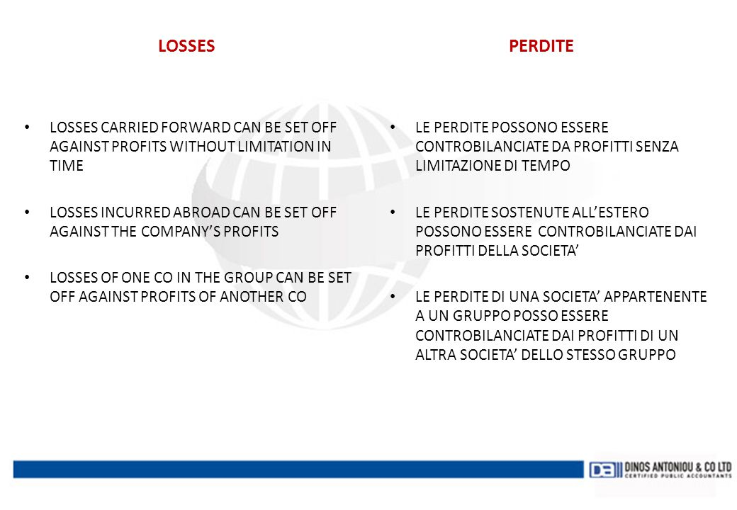 LOSSES PERDITE. LOSSES CARRIED FORWARD CAN BE SET OFF AGAINST PROFITS WITHOUT LIMITATION IN TIME.