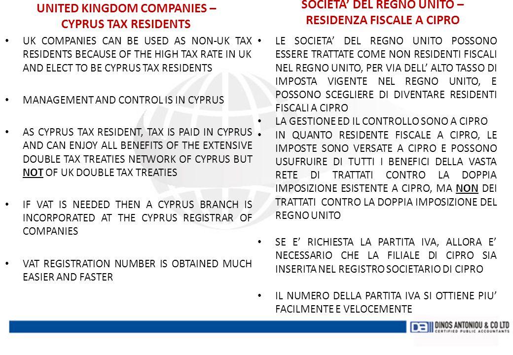 SOCIETA' DEL REGNO UNITO – RESIDENZA FISCALE A CIPRO