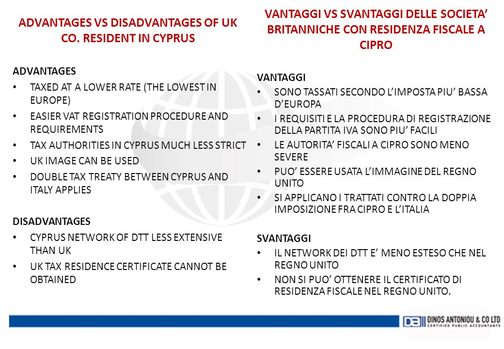 ADVANTAGES VS DISADVANTAGES OF UK CO. RESIDENT IN CYPRUS